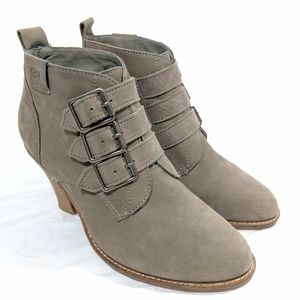 Emu Australia Grey Suede Buckle Ankle Boots